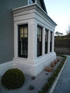 Cut granite bay window