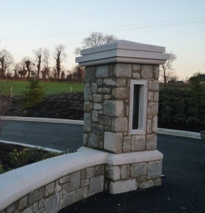 Silver grey pier cap /plinth block and wall  curved capping