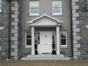 Silver Granite porch on granite pillars and steps