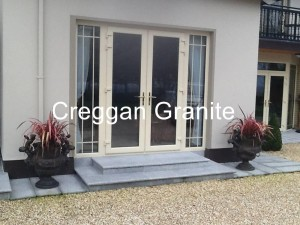 Silver-grey granite patio-door step