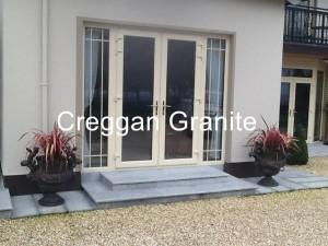 Silver-grey granite patio-door step