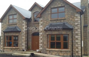 Golden chamfered granite quoins