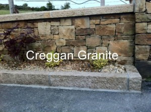 Golden granite wall coping along with golden granite kerbs.