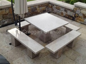 Golden granite table and benches