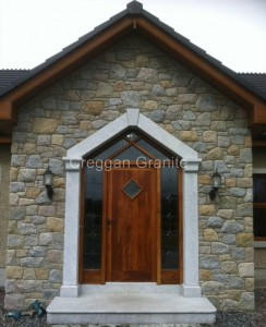 Silver-grey granite door surround