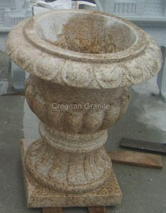 Golden granite flower pot