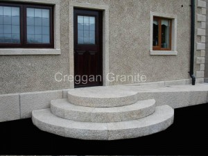 Round golden granite steps and ramp