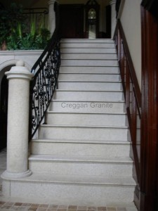 golden granite bush hammared stair