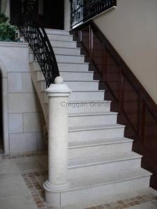 golden granite bush hammared stair