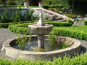 Golden granite water fountain