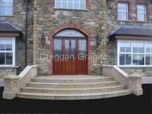 Golden granite steps, walls and piers