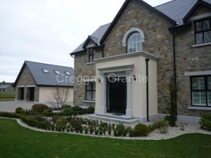 Canopy door surround in silver-grey granite