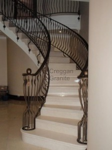 Cream polished marble stairs