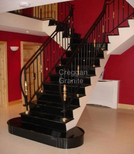polished black granite stairs