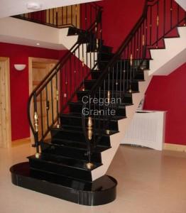 polished black granite stairs