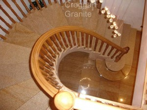 polished golden granite stairs