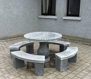 Round, Silver grey granite table and benches
