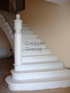 polished white granite stairs